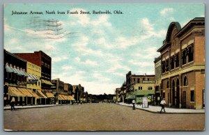 Postcard Bartlesville OK c1910 Johnstone Avenue North From Fourth Street Shops