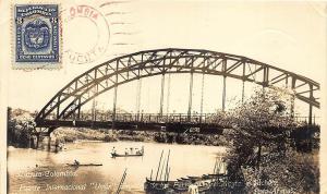 Cúcuta Columbia River Bridge Boats Real Photo Postcard