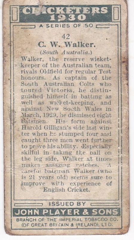 Cigarette Cards Player's Cricketers 1930 No 42 - C W Walker