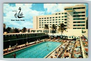 Miami FL- Florida, Hotel Di Lido, Miami Beach, Poolside, Chrome Postcard