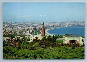 Baku Azerbaijan Old City STATUE Park Water Real Photo Old Vintage Postcard