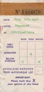 Hotel Moderne Neufchateau Belgium 1950s Hotel Receipt