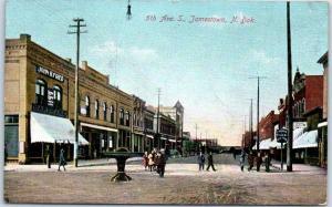 Jamestown, North Dakota Postcard 5th Fifth Avenue Downtown Street Scene 1909 RPO
