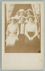 Jackson MI~Edith Sloat~Elizabeth Cyak~Bessie Welch~Harry Falney? RPPC 1910 PC