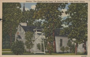 Chapel In Trees St Pauls Chapel Camp Grant IL Posted Vintage Linen Post Card
