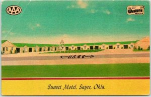 1950s SAYRE, Oklahoma ROUTE 66 Roadside Postcard SUNSET MOTEL Highway 66 Linen
