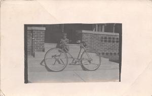 Toledo Iowa Postmark~Bicycle on Front Steps~Lil Girl on Porch~Big Bike~1910 RPPC