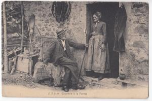 Social History; Causerie A La Ferme - Chat on the Farm PPC, Unposted UB, c 1900s