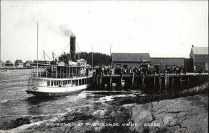 Five Islands ME Steamer Boat Wiwurna at Dock Real Photo Postcard