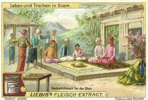 siam thailand, Wedding Ritual at the Shan (1899) Liebig Trade Card