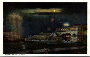 Virginia Ocean VIew At Night Curteich