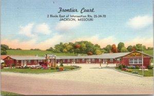 Jackson Missouri~Frontier Court~Wagon-Flowers-Sign in Courtyard~1940s Roadside