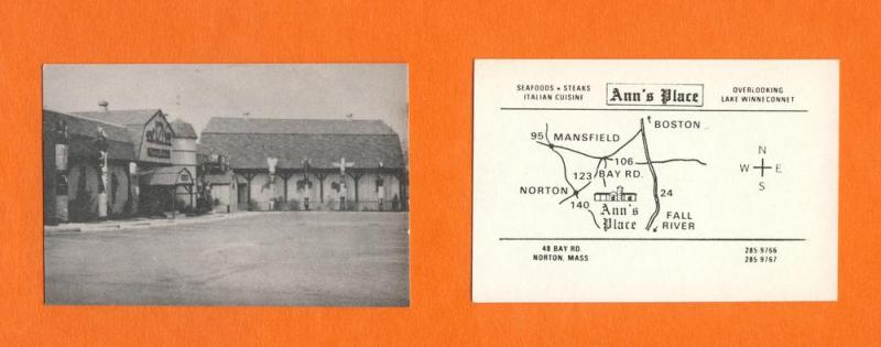 Ann's Place Restaurant Business Card, Norton, Mass/MA