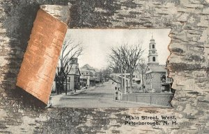 Peterborough NH Main Street, West Birch Bark Postcard