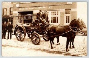 Davenport Iowa~Fire Department Men~Hose Co No 5~Close Up Horse Wagon~1909 RPPC