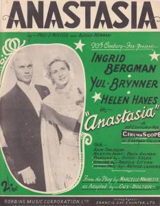 Anastasia Ingrid Bergman 1950s Sheet Music