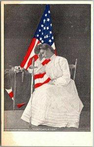Vintage 1910s WWI Patriotic Postcard COMTEMPLATION Young Woman Sword U.S. Flag
