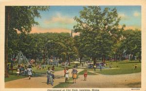 1940s Playground City Park Lewiston Maine Lewiston Teich linen postcard 2907