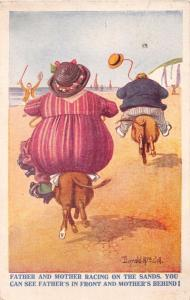 FAT FATHER & FAT MOTHER RACING ON SMALL HORSES VACATION COMIC POSTCARD 1911