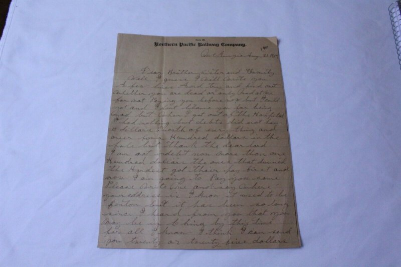 Vintage 1901 Hand Written Letter on Norther Pacific Railway Company Letterhead