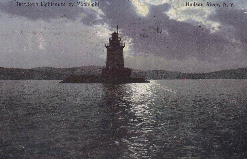 New York Hudson River Tarrytown Lighthouse By Moonlight 1909