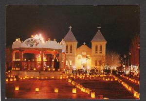 NM San Albino Church Christmas Lights Mesilla New Mexico Postcard