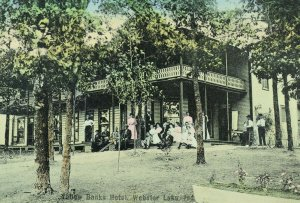 Circa 1905 Yellow Banks Hotel, Webster Lake, IN Hand Colored Postcard P37