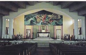 Interior View, Church Altar, Jesus Mural, Pierce Camera Inc., Quebec La Cite,...