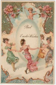 AS: EASTER, 1900-10s; Ladies dancing around a big egg, Cherub, PFB 7512