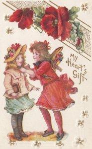 Red Flower & 2 girls My Heart's Gift , 1908