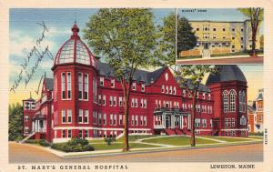 St. Mary's General Hospital, Early Linen Postcard, Used