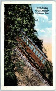 1920s Chattanooga TN Postcard Incline Railway Car Ascending Lookout Mountain