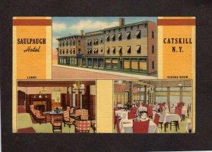 NY Saulpaugh Hotel Catskill New York Linen Postcard Art Deco Dining Room Lobby