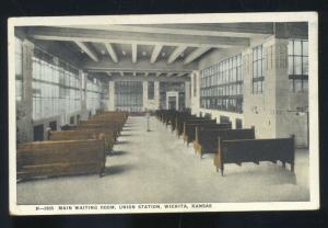 WICHITA KANSAS RAILROAD DEPOT TRAIN STATION INTERIOR FRED HARVEY OLD POSTCARD