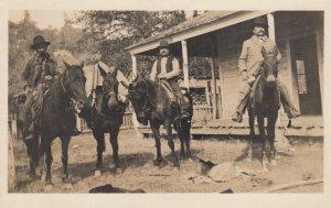 RP: S.F. , California  , 1911; Men on Horseback outside town