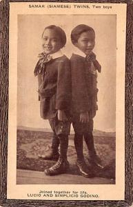 Circus Post Card Samar Siamese Twins, Two Boys Luci and Simplicio Godino Unused