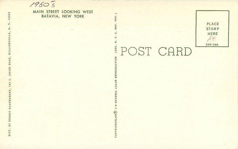 Autos Marquee Batavia New York 1940s Main Gunzburger Teich postcard 8392