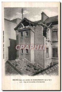 Old Postcard Reims In his years of bombings Rue de Courcelles Clairmarais