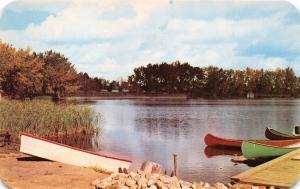 LETHBRIDGE ALBERTA CANADA HENDERSON LAKE~WOOD CANOES BOAT POSTCARD 1958