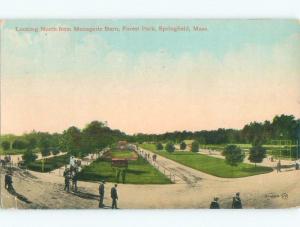 Divided-Back PARK SCENE Springfield Massachusetts MA c9178