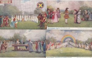 St Albans Warwick Pageant Human Sacrifice Druids 4x Old Postcard s