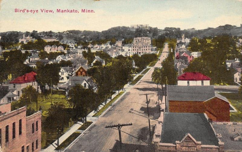 Mankato MN~Birdseye~Long Tree-Lined St~Homes, Schools, Telephone Poles 1914