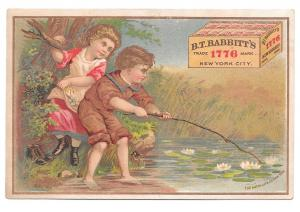 Victorian Trade Card BT Babbitts Soap New York NY Pond Children Water Lilies