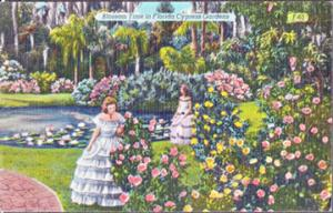 CYPRESS GARDENS - pretty belles amidst tropical beauty at BLOSSOM TIME, 1930/40s