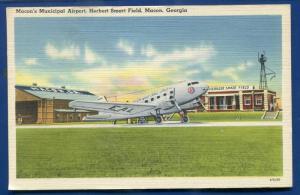 Macon Georgia ga Municipal Airport Herbert Smart Field linen postcard