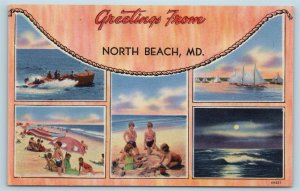 Postcard MD North Beach Chesapeake Bay Multiview Vintage Linen Greetings From U8