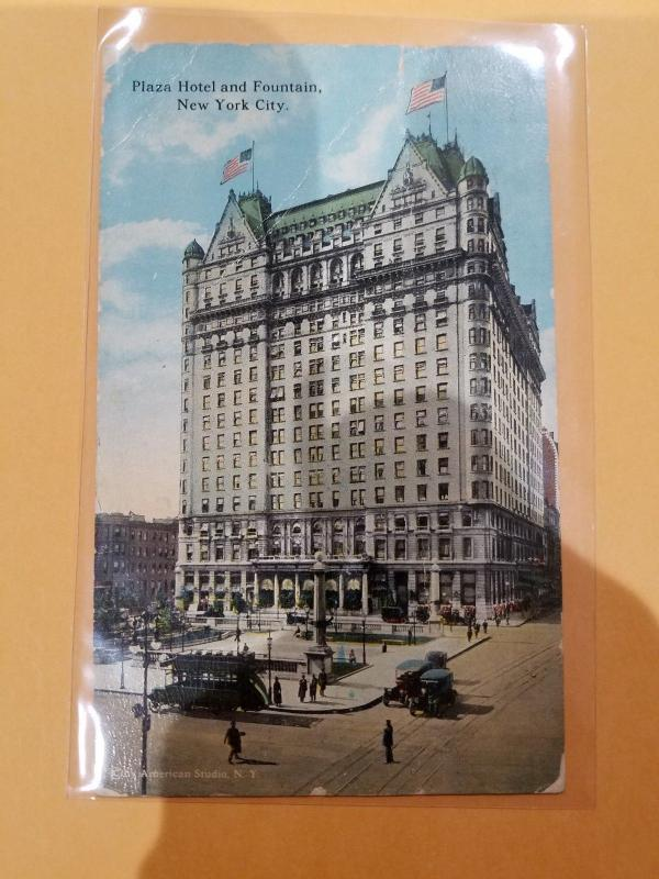 Antique Postcard, Plaza Hotel and Fountain, New York City