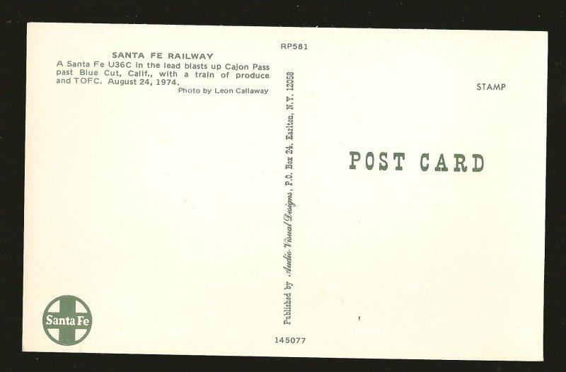 Santa Fe Railway U36C 1974 Leon Callaway Color Postcard Unposted
