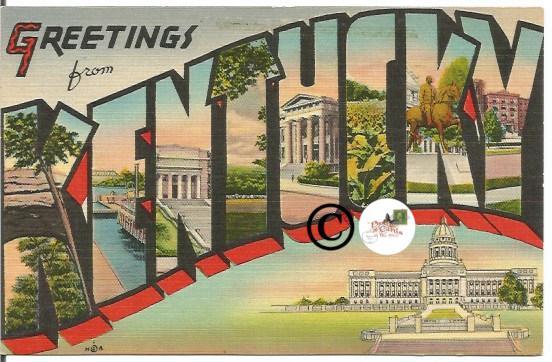 Vintage Big Letter Postcard Greetings From Kentucky Large Letter Linen Postcard