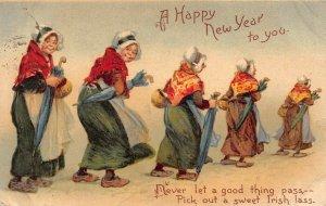LP42  Frances Brundage New Year Irish  Lass Postcard  Tuck Publisher